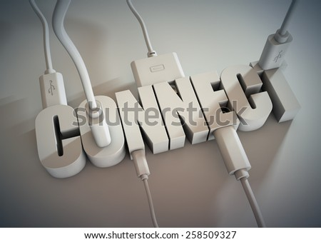 3d Title connected with computer cables and wires. Connect via social media, internet and devices and smart phones  - stock photo