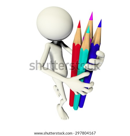 3D TOON WITH COLOUR PENCILS - stock photo