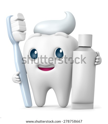 3D Tooth cartoon Smiling with toothbrush and toothpaste, illustration isolate - stock photo
