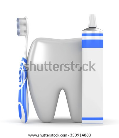 3d tooth with toothpaste and a toothbrush on a white background - stock photo
