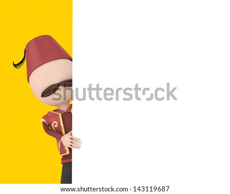 3d traditional human with blank white board - ramadan concept - stock photo