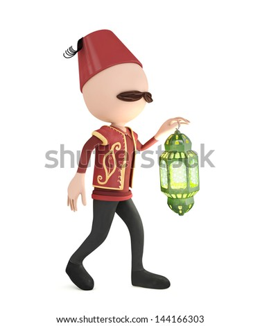 3d traditional human with lantern - ramadan concept - stock photo