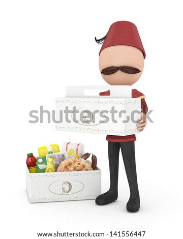 3d traditional human with ramadan rations packages - stock photo