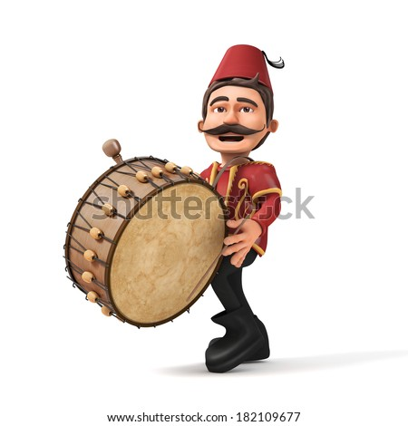 3D Traditional Ramadan Drummer playing drum- isolated - stock photo