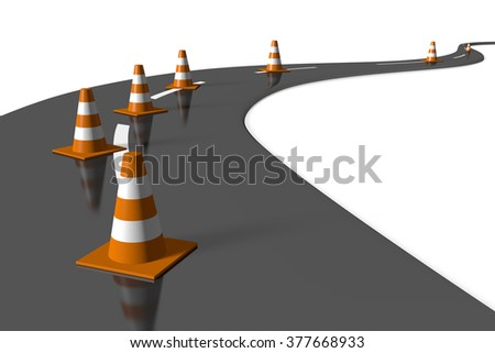 3D traffic cones and a road - great for topics related with cars, driving etc. - stock photo