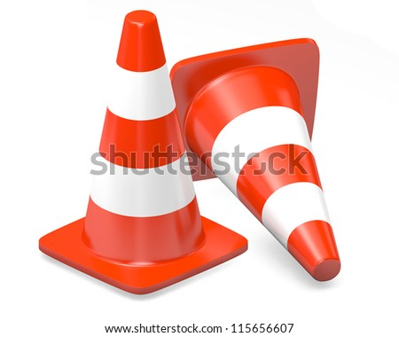3d traffic cones isolated over white - stock photo