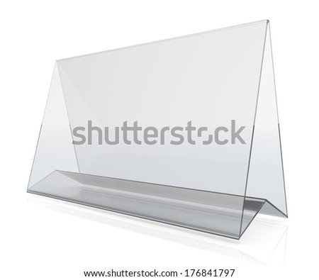 3d transparent acrylic wide desk display in isolated background with work paths, clipping paths included  - stock photo