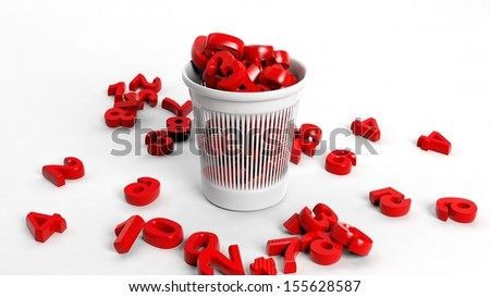 3D trash bin full of red numbers, conceptual design - stock photo