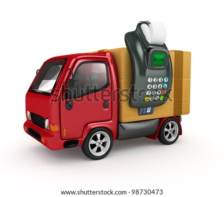 3D Truck with POS-terminal-Payment at the door - stock photo