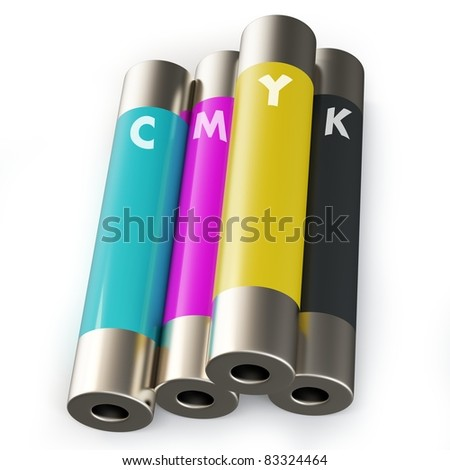 3d tubes with cmyk ink on white - stock photo