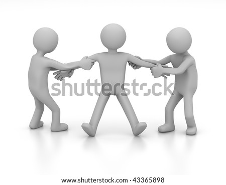 3D tug-of-war of 2 characters fighting over one person - stock photo