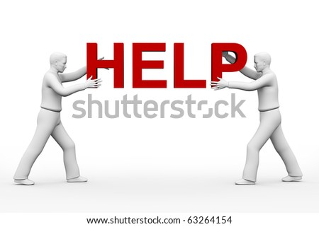3d two men holding HELP inscription on a white background. - stock photo