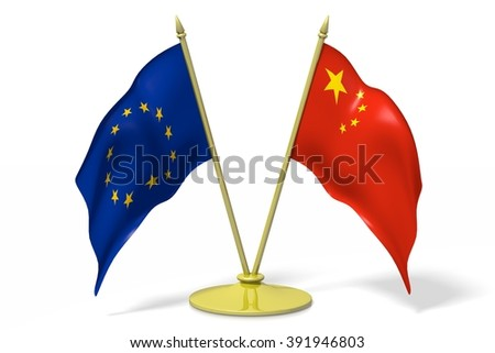 3D two national flags - European Union (EU) and China. - stock photo
