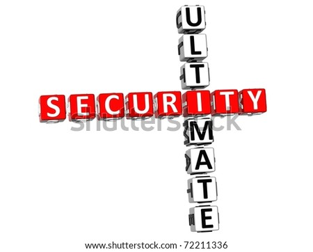 3D Ultimate Security Crossword on white background - stock photo