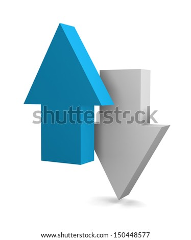 3D Up and Down Arrows isolated on white background - stock photo