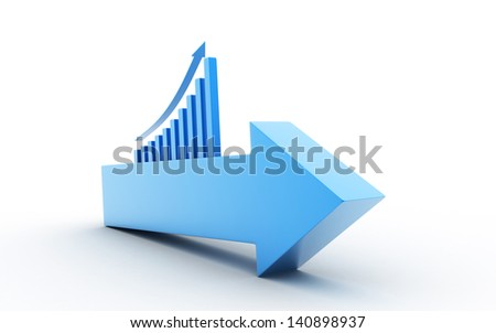 3d up arrow with business graph - stock photo