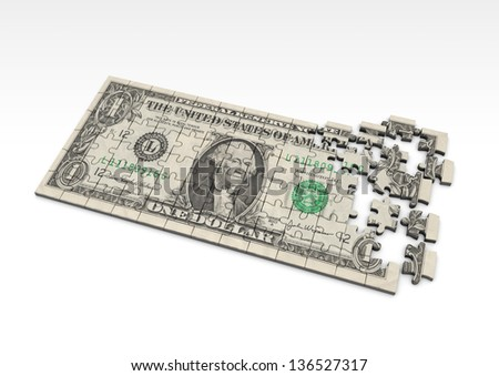 3D US Dollar currency sign with flag - stock photo