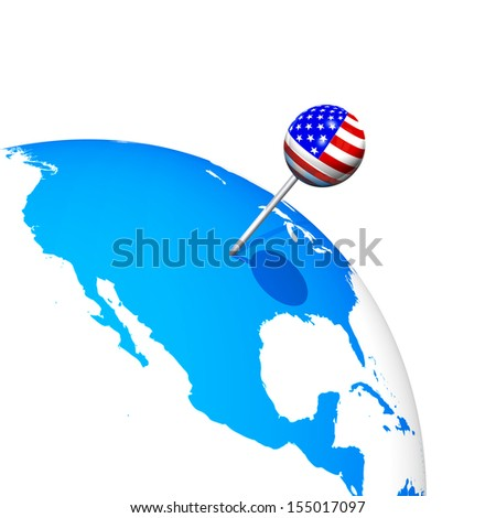 3d USA pin in america map globe - stock photo