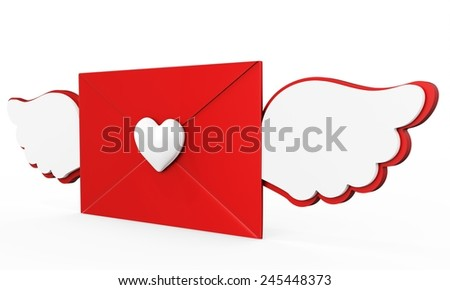 3d valentines day love letter with red heart on white background - stock photo