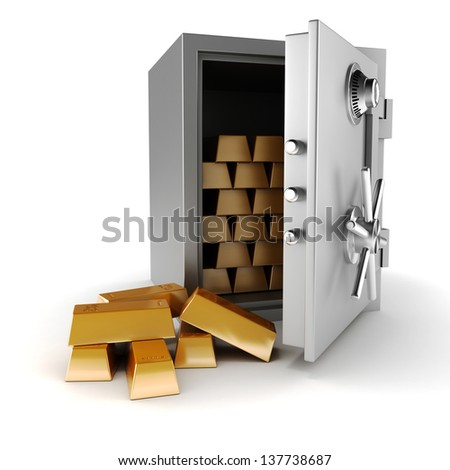 3d vault and gold bars on white background - stock photo