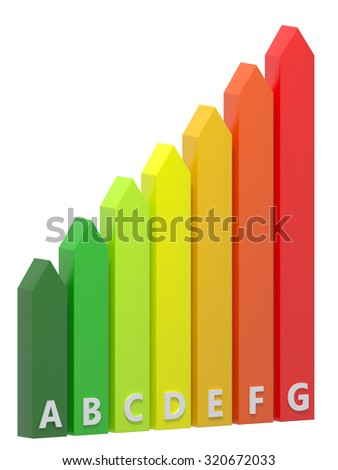 3D vertical energy rating bars.Isolated. - stock photo