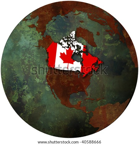 3d view from space on southern hemisphere with canada flag - stock photo