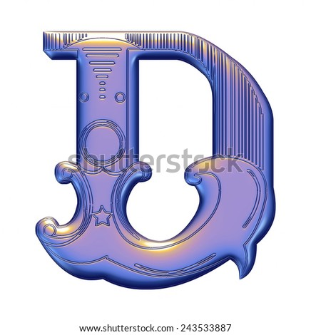 3D violet alphabets D on isolated white background. - stock photo