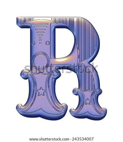 3D violet alphabets R on isolated white background. - stock photo