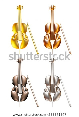 3D Violin music instrument on isolated white background. - stock photo