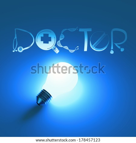 3d virtual light bulb and text design  DOCTOR as concept - stock photo