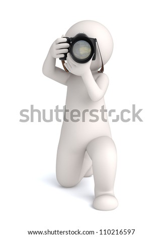 3d virtual photographer guy taking the shot - Image rendered with soft shadows - stock photo
