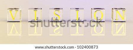 3D vision in glass cube with reflaction for business strategy - stock photo