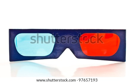 3D vision paper glasses on white background - stock photo