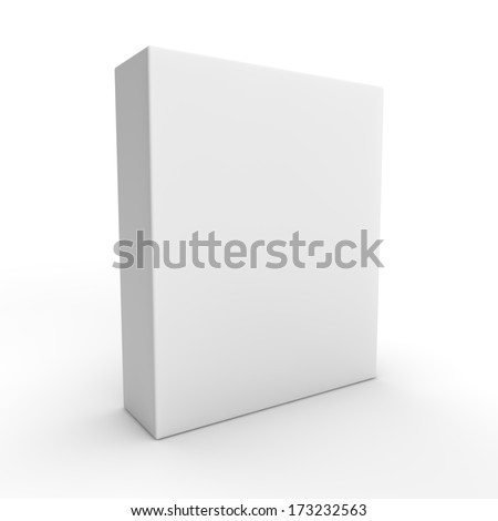 3d visual of a tall flat white box isolated on a white background - stock photo