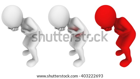 3d vomiting man. 3d illustration. - stock photo