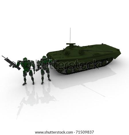 3d war team - stock photo