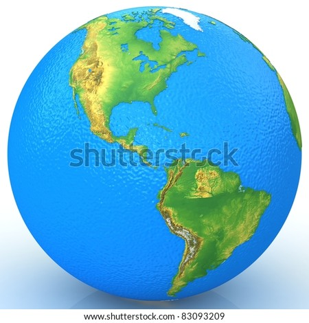 3d water real globe. - stock photo