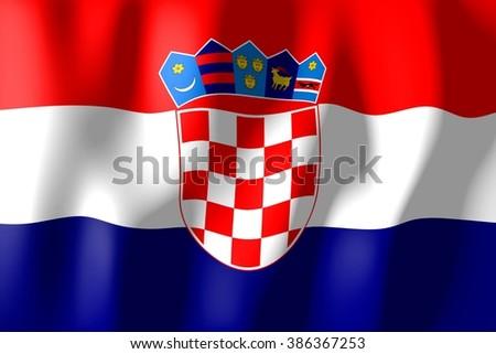 3D waving flag of Croatia. - stock photo