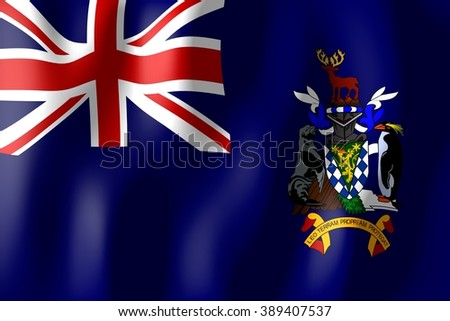 3D weaving flag - flag of South Georgia and South Sandwich Islands. - stock photo