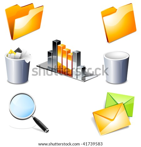 3D web icons. Set 2. Please visit my gallery for more! - stock photo