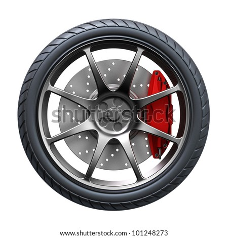 3d wheel isolated on white background. 3d render - stock photo