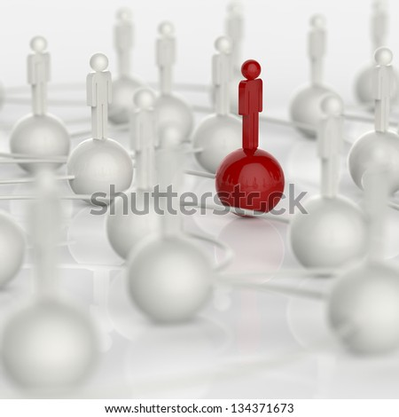 3d white and blue and red human social network and leadership as concept - stock photo