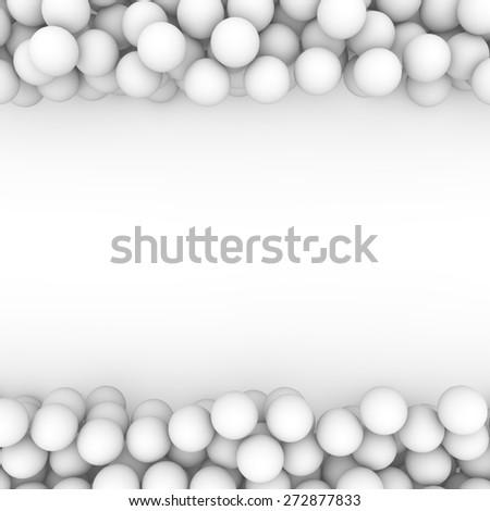 3d white beads border background - stock photo