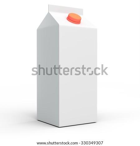 3d white blank milk or juice box on white background - stock photo