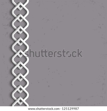 3d white border in arabic style. Raster version - stock photo