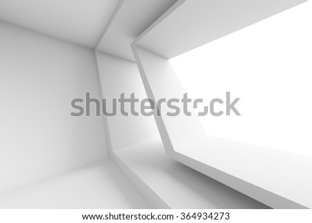 3d White Building Construction. Abstract Architecture Background - stock photo