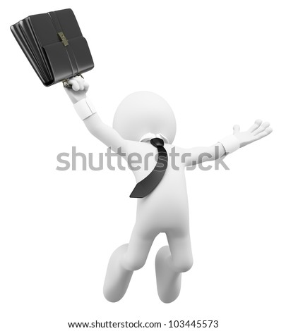 3d white business person happy jumping for the success with a briefcase. 3d image. Isolated white background. - stock photo