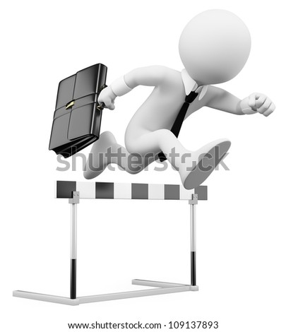 3d white business person in a hurdle race. 3d image. Isolated white background. - stock photo