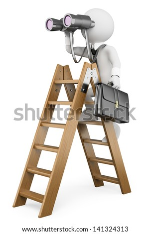 3d white business person on a ladder looking through binoculars. Business vision metaphor. Isolated white background. - stock photo
