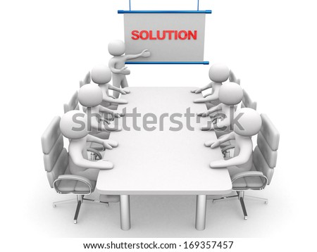 3d white business persons at a workshop. Presentation. Isolated white background - stock photo